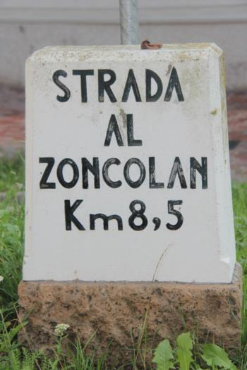 Signage on the road leading to the Monte Zoncolan